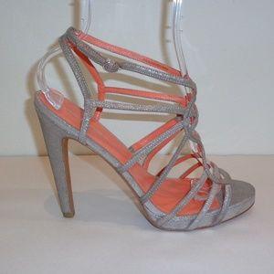 Via Spiga PROMISE Silver Leather Heels Sandals